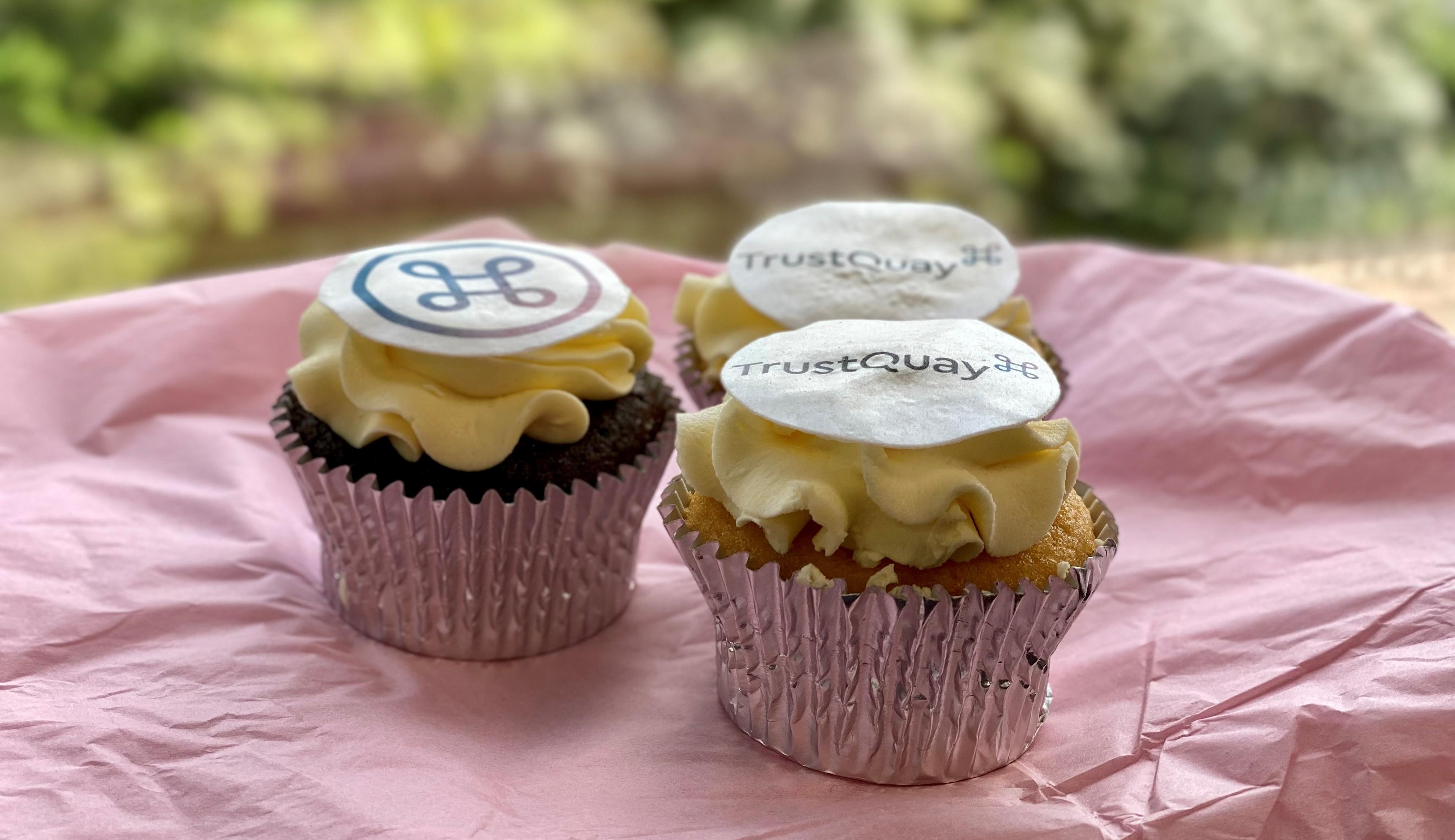 TrustQuay branded cupcakes